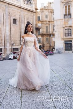 Gorgeous pale rose (blush grey) wedding dress 'Scarlett' with sleeves, unique flower ornaments and beautiful cape // Collection Symphonie d'Amour by AlexVeil Bridal Cheap Wedding Dress, Boho Wedding Dress, Designer Wedding Dresses, Wedding Gowns, Wedding Attire, Blush And Grey Wedding, Rose Wedding, Wedding Wishes, Wedding Stuff