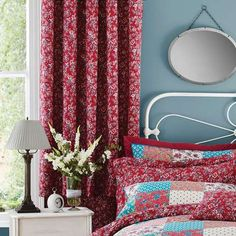 Red Ava Patchwork Thermal Eyelet Curtains | Dunelm