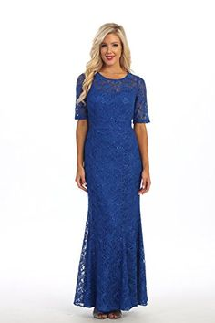 Womens Ladies Fashion Mother of Bride Long Beaded Lace Formal Evening Wedding Dress Medium Royal Blue >>> Check this awesome product by going to the link at the image.