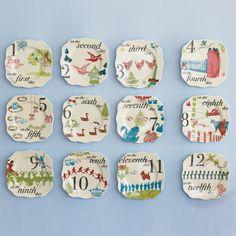 Rosanna 12 days of Christmas Appetizer Plates Set of 12 @LaylaGrayce
