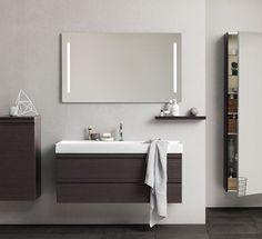 Canto 1200 Basin, Vanity Unit  with integrated handles + Mirror c/w Base Unit, Shelf and Tall Mirrored Wall Cupboard.  Bathroom furniture | dansani.co.uk