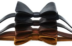 We tried a selection of leathers from the workshop for our new Bow-Tie design.