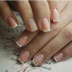 How To Do faded french nails Gorgeous Nails, Love Nails, Pretty Nails, My Nails, Holiday Nails, Christmas Nails, Nailed It, Bride Nails, Sparkle Nails