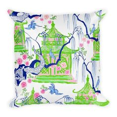 """Chinoiserie Chic Pagoda pattern pillow """"The Carmen Collection"""" by Katie Herman Art Vignette Design, Chinoiserie Chic, Chinoiserie Fabric, Chinoiserie Wallpaper, Staffordshire Dog, Outdoor Fabric, Outdoor Material, Indoor Outdoor, Outdoor Living"""