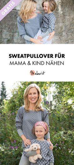 Partnerlook: Sweatpullover für Mama und Kind nähen - kostenlose Nähanleitung und Schnittmuster via Makerist.de