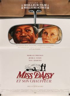 Driving Miss Daisy (1990) Vintage French Movie Poster - Morgan Freeman & Jessica Tandy