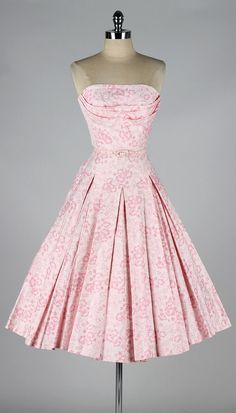 1950's Floral Print Strapless Dress