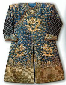 e2e696c1b13f44 Chinese summer court robe ('dragon robe'), c. silk gauze couched in gold  thread, East-West Center - Chinese art by medium and technique - Wikipedia,  ...
