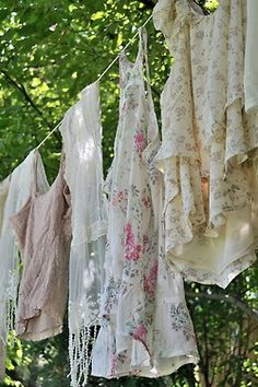 shabby modern country romantic clothing on clothes line.