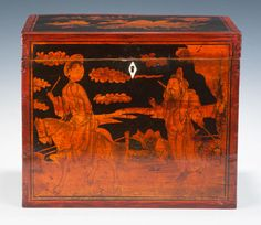 Chinese Tea Chest // A pretty tea chest made in China around 1800 to transport the hugely valuable commodity to England, decorated in the Chinese taste with a scene from mythology, a mountainous landscape and to the lid a floral sprig. It is interesting to note that this method of decoration was adopted in Regency England and became known as penwork, often executed in a chinoiserie style. //   Price: £780 //  - Maria Elena Garcia -  ► www.pinterest.com/megardel/ ◀︎