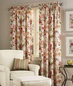 Find your favorite Country Curtains and drapes, kitchen valances, lace and sheer curtains, energy efficient thermal door panels and other window treatments at the Vermont Country Store. Cottage Curtains, Home Curtains, Country Curtains, Curtains Without Valance, Rod Pocket Curtains, Living Room Flooring, Living Room Decor, Cortina Floral, Decorative Curtain Rods