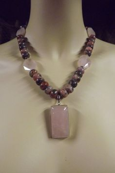 Rose Quartz Rhodochrosite in Pyrite Natural Gemstone Pendant Necklace with Sterling Silver on Etsy, $109.00