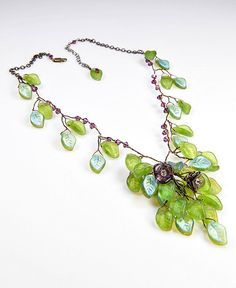 Purple Green Beaded Necklace Leaf Necklace by CherylParrottJewelry, $149.95