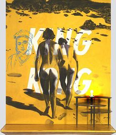 """David Salle  King Kong  123"""" by 96"""" by 26""""  acrylic, light bulb, oil/canvas, wood  1983"""