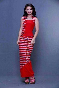 Luv dress African Fashion Dresses, African Attire, African Dress, Indian Fashion, Batik Dress, Patchwork Dress, Traditional Fashion, Traditional Dresses, Myanmar Dress Design
