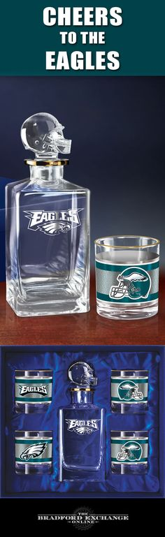 Raise a game-day toast with the Philadelphia Eagles Decanter Set. This officially-licensed NFL barware set includes a crystal-clear decanter with a custom helmet topper and team logo, 4 team icon glasses rimmed in gleaming 12K gold and a satin-lined gift box.