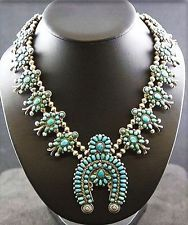 Vintage 1930s-50s Old Pawn SSilver Petit Point Turquoise SQUASH Blossom Necklace