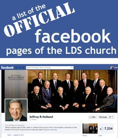 "Here is a list of the official LDS Church Leaders Facebook Pages along with a list of other important church facebook pages to ""like"""