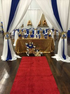 Blue and gold prince birthday party! See more party ideas at CatchMyParty.com!