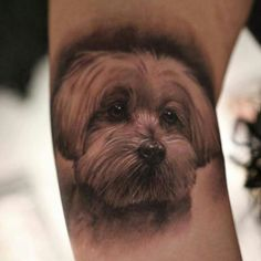 Cute White Puppy Dog Tattoo Design