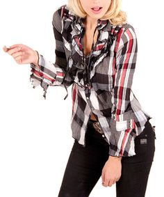 Take a look at this Black & Beet Plaid Ruffle Button-Up by Cino on #zulily today! $59 !!