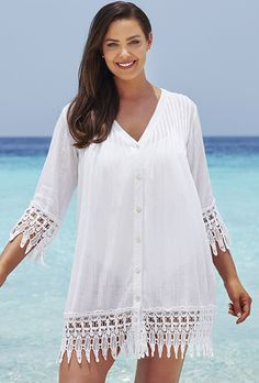 Plus Size swimsuitsforall White Crochet Trim Cover Up Swimsuits For All, Women Swimsuits, Big And Tall Outfits, Plus Size Outfits, Moda Chic, Plus Size Kleidung, Swimsuit Cover Ups, Swim Cover, Swim Dress