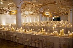 I love the idea of bringing the outdoors inside by creating custom branch pieces hanging overhead. I would want to have white floral attached to these as well as hanging tealight candles.   http://theeventfirm.ca/wp-content/uploads/2012/05/Wedding-Branches-Suspended.png