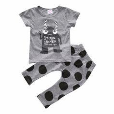baby boys little monster cotton teetop polka dot cotton pantsbottom set