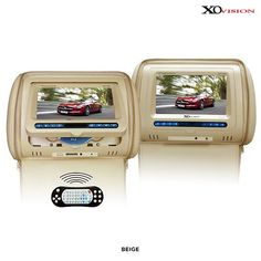"XO Vision 7"" Headrest Monitors with Built-In DVD Players & Accessories - Assorted Colors"