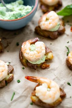 These Crispy Smashed Potatoes with Green Goddess Goat Cheese and Shrimp are crazy elegant, crazy delicious appetizer that belong at your next event or holiday dinner!