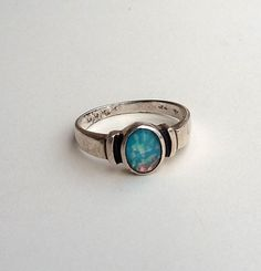 Vintage Sterling Silver Opal Art Glass Ring Size 8 by wimpyren