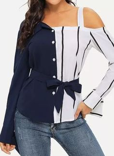 Stripe Casual Oblique Neckline Long Sleeve Blouses - Dark Blue / S Denim Top, Trendy Tops For Women, Blouses For Women, Trendy Dresses, Stylish Outfits, Jean Dress Outfits, Girls Fashion Clothes, Fashion Outfits, Blouse Pattern Free