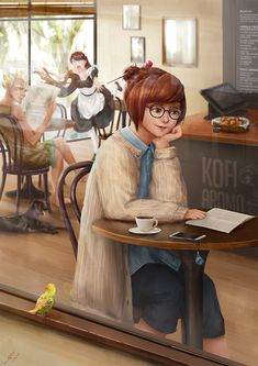 My fanart, Mei visiting a cafe : Overwatch Overwatch Video Game, Overwatch Comic, Overwatch Fan Art, Overwatch Drawings, Overwatch Wallpapers, Dc Anime, Sad Art, Cartoon Games, Game