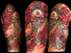 Sugar Skull Sleeve Tattoo - http://99tattooideas.com/sugar-skull-sleeve-tattoo-2/ #tattoo #tattoos #ink