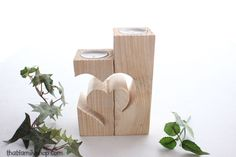 Rustic Barnwood Candle Holder with Unique Heart Design