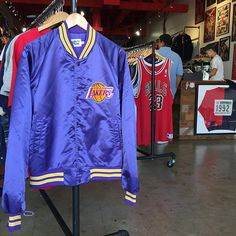 Vintage Lakers Jacket by @chalklineofficial for sale in-store now!  Size XL for…