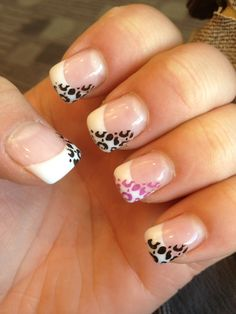 Gel nails for my Paris trip :) white tip with black and purple cheetah print stamp ❤ Cute gel nails.