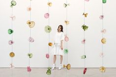 Paridust in front of the work of Tony Feher at Sikkema Jenkins & Co., New York, wearing Suno. Photograph by Tylor Hou, 2014