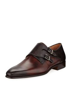 e1c234a9d6c Shop Hand-Antiqued Calf Two-Tone Dress Shoes from Magnanni for Neiman  Marcus at Neiman Marcus Last Call