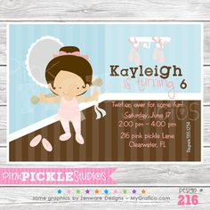 Ballet Studio Personalized Party Invitation