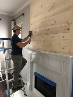 Want to turn your drab fireplace and mantel into a shiplap, farmhouse-inspired focal point? This DIY How-To is just the thing for you. decor A DIY How-To For The Farmhouse Shiplap Fireplace Of Your Dreams — She Gave It A Go Fireplace Redo, Shiplap Fireplace, Fireplace Remodel, Living Room With Fireplace, Fireplace Design, Home Living Room, Fireplace Ideas, Farmhouse Fireplace Mantels, Tv Above Fireplace