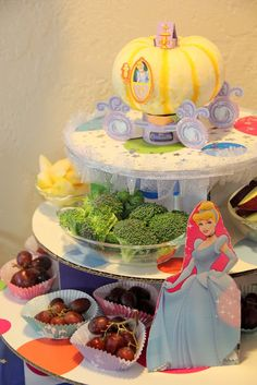 Adventures in All Things Food & Family - Cinderella decorated cupcake stand for fruit & veggies + more great princess party ideas. Be sure to pin this to your birthday inspiration board! #DisneyPrincessWMT #CBias