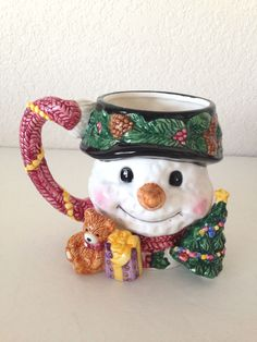 Christmas Snowman Winter Red Green Coffee Tea Mug Cup Teddy Bear Hat Present