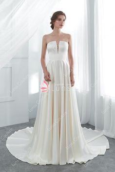 56783457e56 Cream Classic Strapless Long High End Satin Wedding Gown