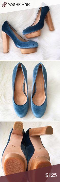 """Madison Harding Blue Crushed Velvet Platforms NWT & original box. Madison Harding Blue Crushed Velvet Platforms. Floating platforms, vintage silhouette. Heel height 5"""", platform height 1.5"""" [equivalent to a 3.5"""" heel]. No modeling/trades. Madison Harding Shoes Platforms"""