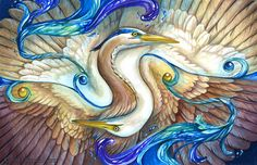 Balance  Fantasy Heron and Egret Print by windfalcon on Etsy, $17.00
