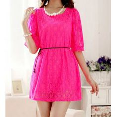 Solid Color Floral Print Hollow Out Design 1/2 Length Sleeve Round Collar Lace Dress For Women
