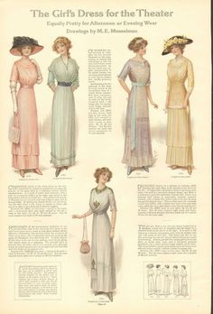 1912 Ladies' Fashions, The Girl's Dress For The Theater