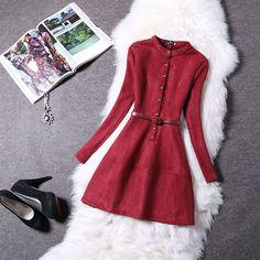 Замшевое платье цвета марсала  Autumn Winter Fashion Women Dress Long Sleeve Suede 2016 New Spring Elegant Casual Bodycon Prom Party Dress Slim Vestidos
