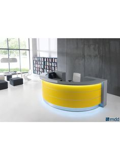 VALDE Round Reception Desk, High Gloss Yellow by MDD Office Furniture